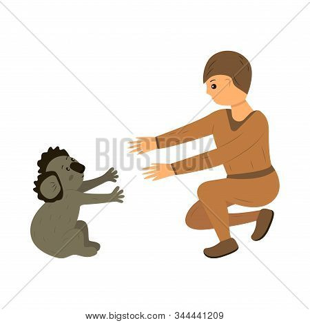 A man saves a koala from a fire in Australia. Rescue animals from fires in Australia. Brave man, volunteer and firefighter rescuer. Call for help. The concept of saving the life of koalas and all Australian animals. Cartoon style illustration stock photo