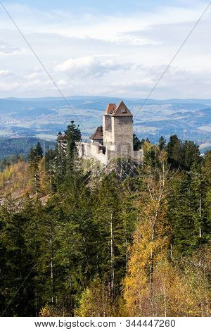 Medieval Kasperk Castle in southwestern Bohemia, Czech Republic, sunny autumn day, Plzen region, Sumava range stock photo