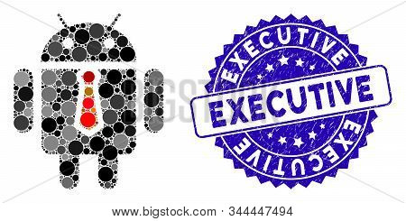 Mosaic boss robot icon and rubber stamp seal with Executive caption. Mosaic vector is formed from boss robot icon and with random round elements. Executive stamp seal uses blue color, stock photo