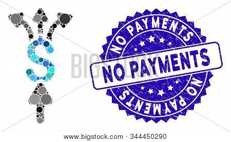 Mosaic divide payments icon and grunge stamp seal with No Payments text. Mosaic vector is composed with divide payments icon and with randomized circle elements. No Payments stamp uses blue color, stock photo