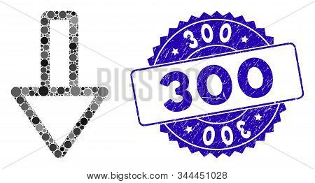 Mosaic down icon and rubber stamp seal with 300 phrase. Mosaic vector is created with down icon and with scattered spheric items. 300 stamp seal uses blue color, and distress texture. stock photo