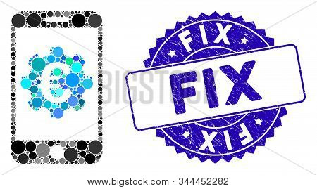 Mosaic Euro mobile options icon and rubber stamp watermark with Fix caption. Mosaic vector is composed from Euro mobile options icon and with randomized circle items. Fix stamp seal uses blue color, stock photo