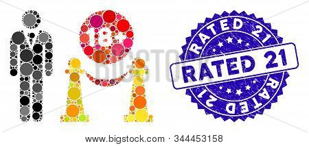 Collage for adults only icon and grunge stamp seal with Rated 21 text. Mosaic vector is designed with for adults only icon and with randomized round items. Rated 21 stamp seal uses blue color, stock photo