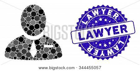 Mosaic lawyer icon and distressed stamp seal with Lawyer phrase. Mosaic vector is composed with lawyer icon and with randomized circle items. Lawyer stamp uses blue color, and dirty design. stock photo
