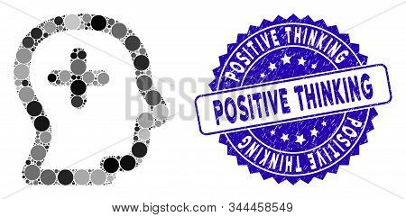 Mosaic positive thinking icon and rubber stamp watermark with Positive Thinking phrase. Mosaic vector is designed with positive thinking icon and with randomized spheric items. stock photo