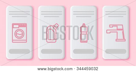 Set line Washer , Plastic bottles for liquid dishwashing liquid, Plastic bottles for liquid dishwashing liquid and Water tap . White rectangle button. Vector stock photo