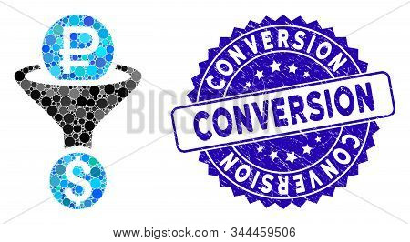 Mosaic rouble currency conversion icon and rubber stamp seal with Conversion caption. Mosaic vector is designed with rouble currency conversion pictogram and with scattered round elements. stock photo