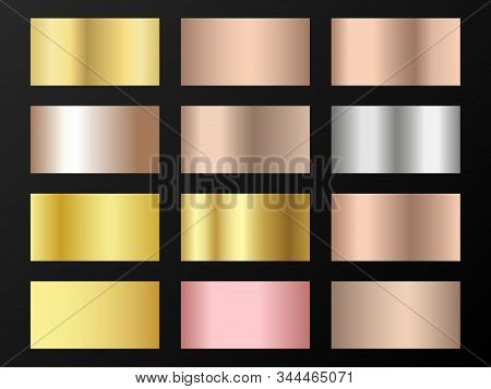Trendy golden, silver, bronze, pink gold gradients. Metallic foil texture silver, steel, chrome, platinum, copper, bronze, aluminum, pink gold gradient swatches.  Shiny metallic swatch templates. stock photo
