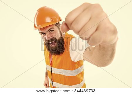 Yes we can. Man engineer protective uniform white background. Bearded brutal hipster safety engineer. Engineering career concept. Architect builder engineer. Safety apparel for construction industry. stock photo