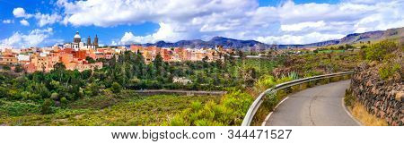 Travel in Gran Canaria - beautiful Aguimes town. Best places of Grand Canary stock photo