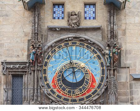 Prague Astronomical clock (Prazsky orloj) on display on the old city hall (Staromestska Radnice) of Prague, Czech Republic. it is an iconic touristic monument of the city from the 15th century. stock photo