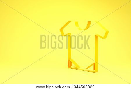 Yellow Baby onesie icon isolated on yellow background. Baby clothes symbol. Kid wear sign. Minimalism concept. 3d illustration 3D render stock photo
