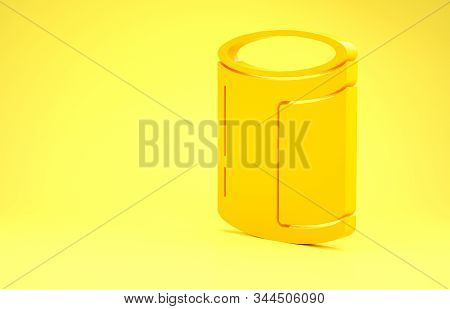 Yellow Canned food icon isolated on yellow background. Food for animals. Pet food can. Minimalism concept. 3d illustration 3D render stock photo