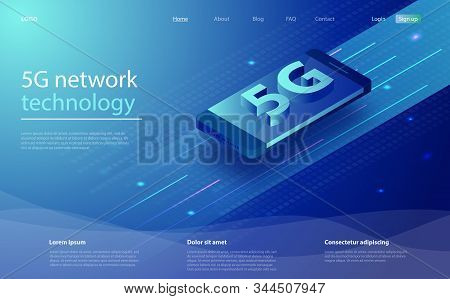 5G network wireless technology. Isometric futuristic hi-tech smartphone with big letters. Landing page design for wireless technology 5g. 5G network wireless with high speed connection. stock photo