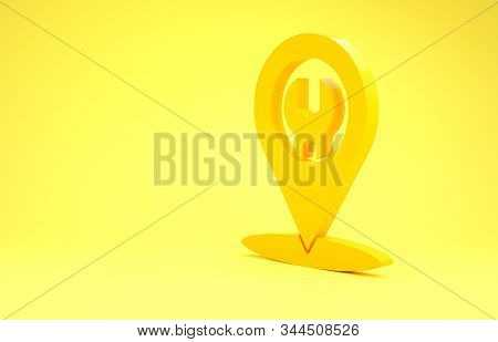 Yellow Car service icon isolated on yellow background. Auto mechanic service. Repair service auto mechanic. Maintenance sign. Minimalism concept. 3d illustration 3D render stock photo