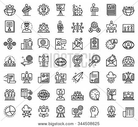 IT administrator icons set. Outline set of IT administrator vector icons for web design isolated on white background stock photo