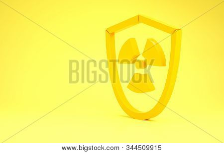 Yellow Radioactive in shield icon isolated on yellow background. Radioactive toxic symbol. Radiation Hazard sign. Minimalism concept. 3d illustration 3D render stock photo
