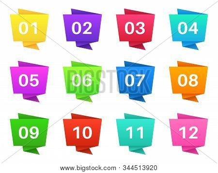 Number bullet points. Colourful steps with numbers, pointing text bullets of simple shape. Modern interface elements vector pointer infographic tag set stock photo