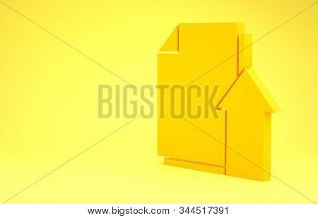 Yellow Upload file document icon isolated on yellow background. Document arrow. Minimalism concept. 3d illustration 3D render stock photo