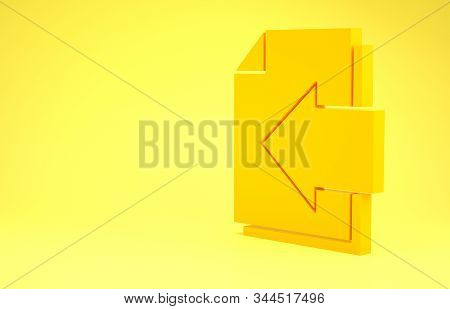 Yellow Next page arrow icon isolated on yellow background. Document file with arrow. Send document. Minimalism concept. 3d illustration 3D render stock photo