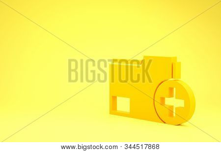 Yellow Add new folder icon isolated on yellow background. New folder file. Copy document icon. Add attach create folder make new plus. Minimalism concept. 3d illustration 3D render stock photo