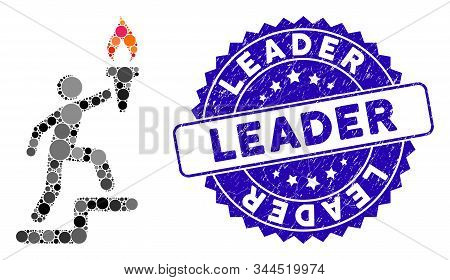 Mosaic leader climb with torch icon and distressed stamp seal with Leader phrase. Mosaic vector is formed with leader climb with torch icon and with randomized round items. stock photo