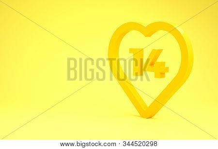Yellow Heart icon isolated on yellow background. Romantic symbol linked, join, passion and wedding. Valentine day. February 14. Minimalism concept. 3d illustration 3D render stock photo