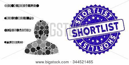 Mosaic user list icon and grunge stamp seal with Shortlist phrase. Mosaic vector is composed with user list icon and with scattered circle spots. Shortlist stamp uses blue color, and grunge texture. stock photo