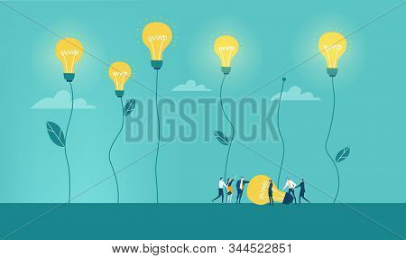 Lots of young creative professional people on light bulbs fields, Abstract illustration, new idea concept, alternative energy. Team and working together concept. stock photo