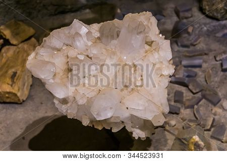 closeup of a crystal quartz rock, White pure crystalline, mineral earth stone, spiritual healing crystals stock photo