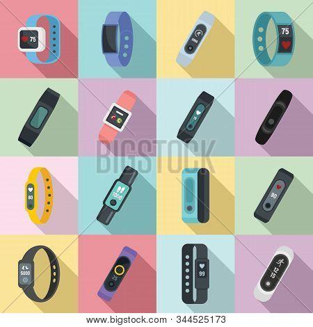 Fitness bracelet icons set. Flat set of fitness bracelet vector icons for web design stock photo