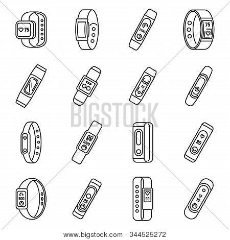 Sport fitness bracelet icons set. Outline set of sport fitness bracelet vector icons for web design isolated on white background stock photo