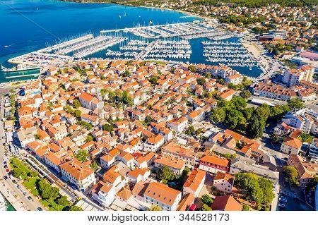 Croatia, aerial view of the town of Biograd, marina and historic town center, beautiful Adriatic seascape, tourist destination stock photo