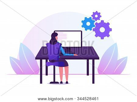 Female Programmer Working with Devops Software Development Practices Methodology. Young Woman Developer Sitting at Office Desk Work on Computer Developing Software Cartoon Flat Vector Illustration stock photo
