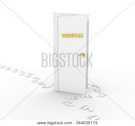 Human footprints bypass the door with the inscription addiction. 3D rendering stock photo