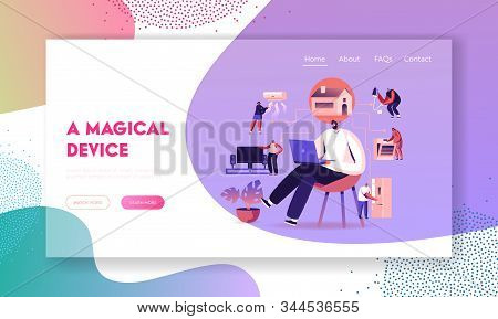 Internet of Things, Smart Home App Network Connection Website Landing Page. Man with Laptop Control Household Devices Using Wireless Iot Application Web Page Banner. Cartoon Flat Vector Illustration stock photo