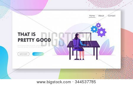 Devops Software Development Practices Methodology Website Landing Page. Woman Developer Sitting at Office Desk Work on Computer Developing Software Web Page Banner. Cartoon Flat Vector Illustration stock photo