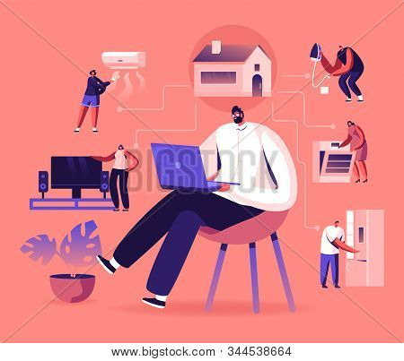 Internet of Things, Smart Home App Network Connection. Man Sitting on Chair with Laptop Control Household Devices Using Wireless Technologies Wifi and Iot Application. Cartoon Flat Vector Illustration stock photo