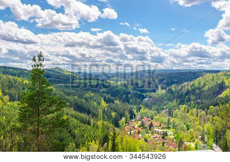 Slavkov Forest aerial panoramic view with hills and green trees near Carlsbad town, Karlovy Vary district, West Bohemia, Czech Republic stock photo