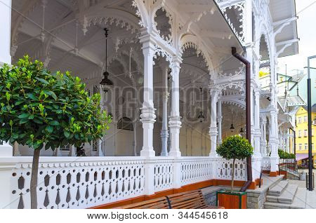 The Market Colonnade Trzni kolonada wooden colonnade with hot springs in Karlovy Vary town Carlsbad historical city centre, close-up, West Bohemia, Czech Republic stock photo
