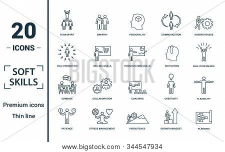 Soft Skills icon set. Include creative elements team spirit, personality, self-promotion, motivating, negotiation icons. Can be used for report, presentation, diagram, web design stock photo