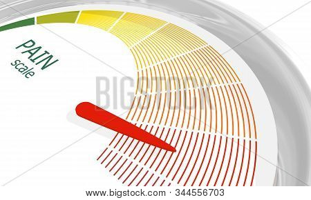 Color scale with arrow from green to red. The pain level measuring device icon. Sign tachometer, speedometer, indicators. Colorful infographic gauge element. 3D rendering stock photo