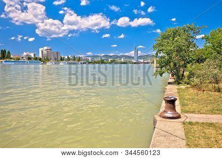 Vienna. Danube river coastline colorful view in Vienna, capital of Austria stock photo