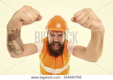 Yes we can. Man engineer protective uniform white background. Engineering career concept. Architect builder engineer. Safety apparel for construction industry. Bearded brutal hipster safety engineer. stock photo