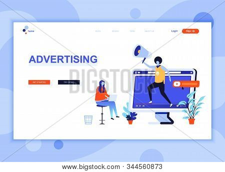 Modern flat web page design template concept of Advertising and Promotion decorated people character for website and mobile website development. Flat landing page template. Vector illustration. stock photo