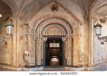 Radovan's portal of the St Lawrence cathedral church in Trogir, Croatia.  stock photo