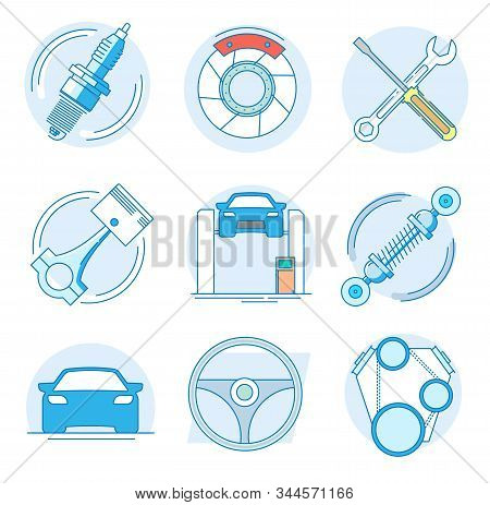 Modern linear pictogram of auto parts. Icons of auto parts. Automotive services auto parts. Computer diagnostics of the car. Perfect for website, mobile apps, catalogue, booklet, promotional products stock photo