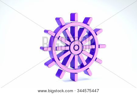 Purple Ship steering wheel icon isolated on white background. 3d illustration 3D render stock photo