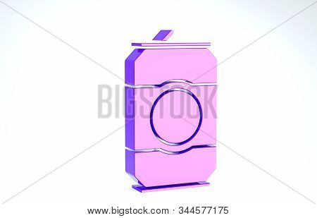 Purple Beer can icon isolated on white background. 3d illustration 3D render stock photo