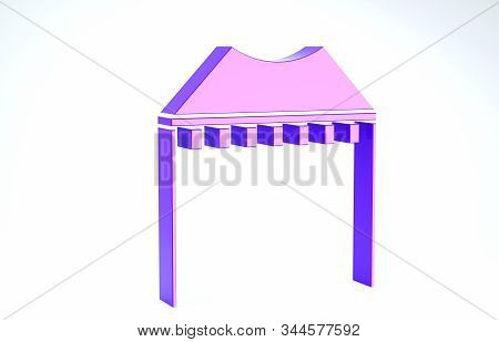 Purple Camping tent icon isolated on white background. Carnival camping tent. Amusement park. 3d illustration 3D render stock photo
